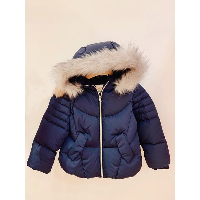 CATIMINI Girls' plume parka navy blue