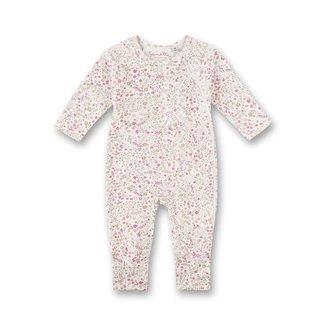 SANETTA Girls' overall off-white floral allover lovely teddy