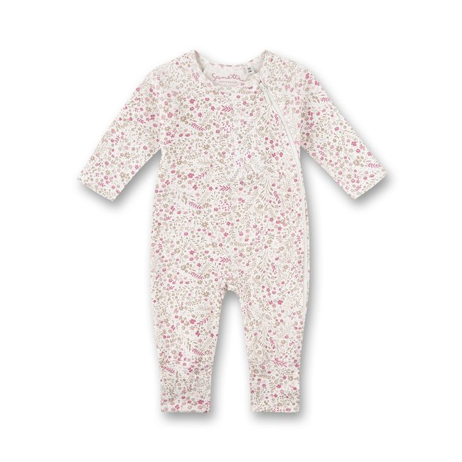 SANETTA Girls' overall off-white floral allover lovely teddy