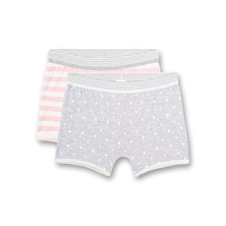SANETTA Girls shorts (double pack) Gray melange dots all-over and pink stripes