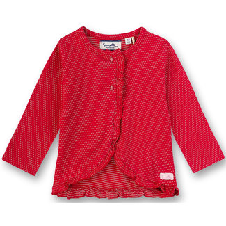 SANETTA Girls' sweat jacket red with white dots