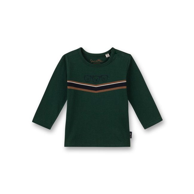 SANETTA Boys shirt long-sleeved green Little Teddy