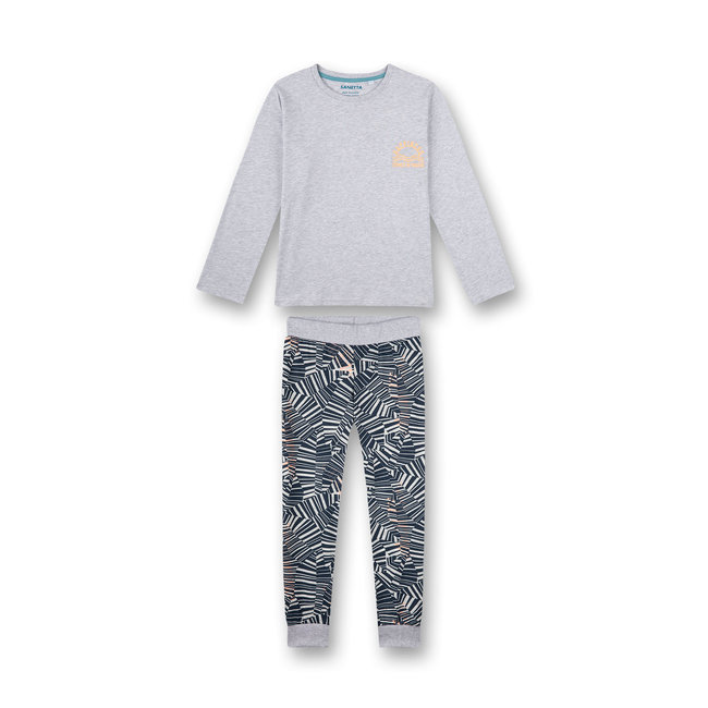 SANETTA Boys pajamas long gray-melange Wave Rider