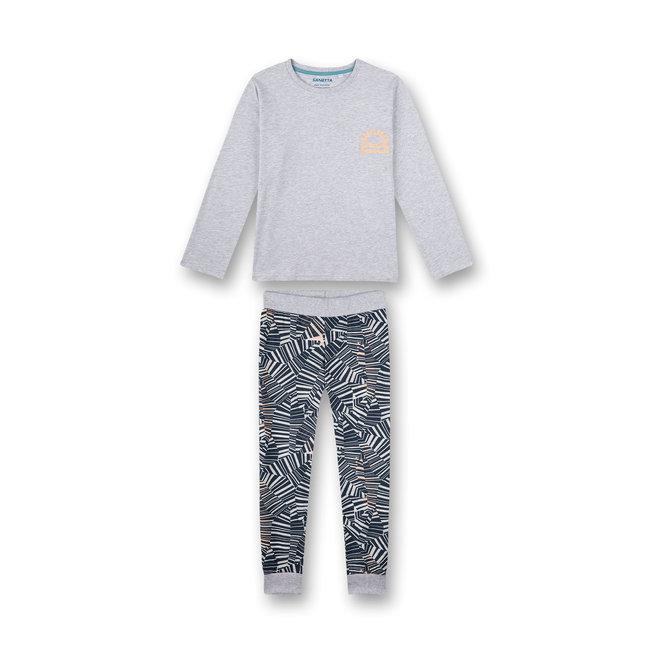 SANETTA Boys pajamas long gray-melange Wave Rider