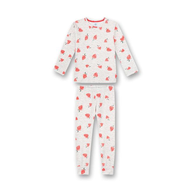 SANETTA Girls' pajamas long gray melange strawberry allover Strawberry Field