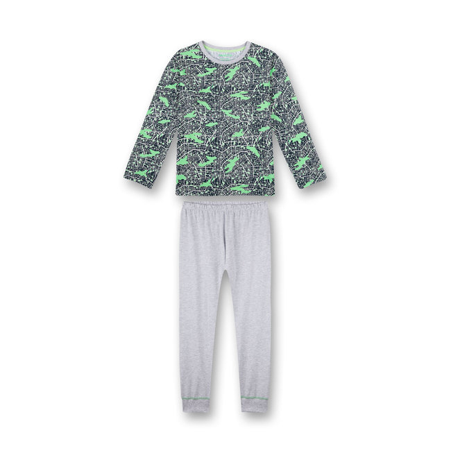 SANETTA Boys pajamas long blue camouflage all-over Big City Life