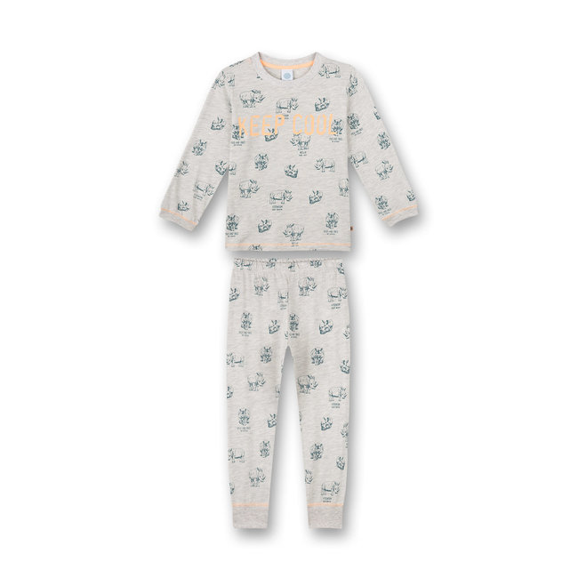 SANETTA Boy's pajamas long gray melange Wild at Heart
