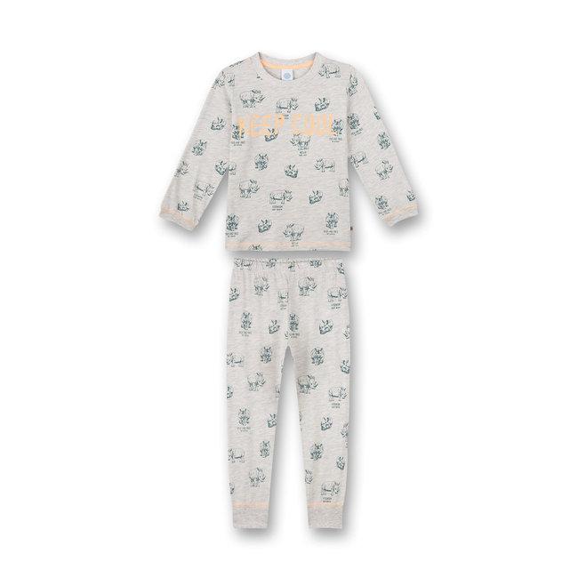 SANETTA Boy's pajamas long gray melange Wild at Heart
