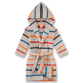 SANETTA Boys bathrobe, gray, multi-colored ringed