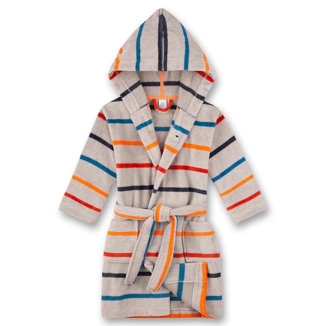 SANETTA Boys bathrobe, gray, multi-colored ringed