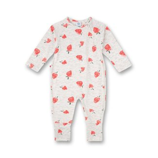 SANETTA Girls' overall gray melange strawberry all-over cutie pie