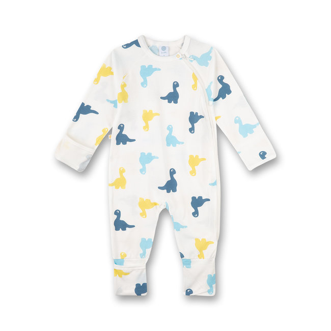 SANETTA Boys' overall white dinosaur all-over dinosaur party