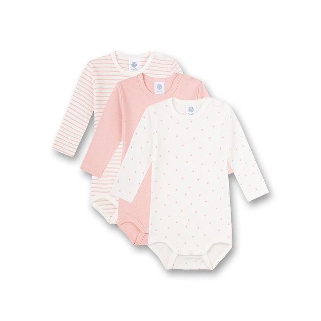SANETTA Long-sleeved body (pack of three) pink stripes pink and white