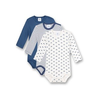 SANETTA Long-sleeved body (pack of three) blue stripes and white