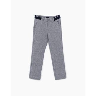 IKKS BOYS' NAVY SEMI-PLAIN TROUSERS