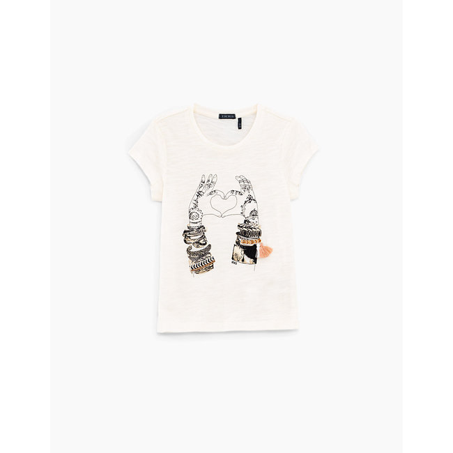 IKKS GIRLS' ECRU HAND-HEART T-SHIRT