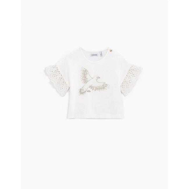IKKS Baby girls' off-white organic cotton T-shirt with bird