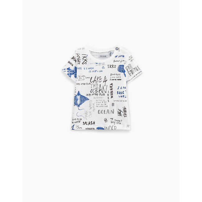 IKKS Baby boys' white street graphic print T-shirt