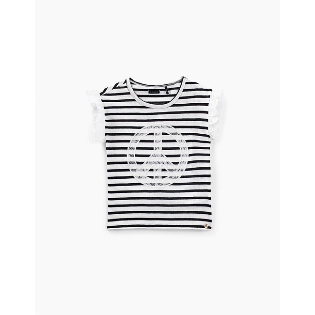 IKKS GIRLS' OFF-WHITE T-SHIRT WITH BLACK STRIPES AND LACE
