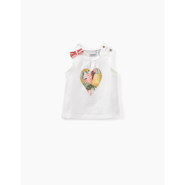 IKKS Baby girls' off-white organic cotton T-shirt with heart