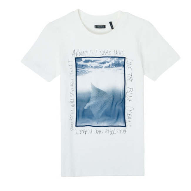 IKKS BOY'S WHITE STING RAY PRINT T-SHIRT