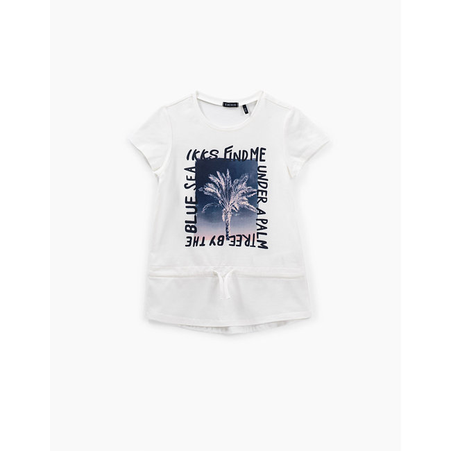 IKKS GIRLS' OFF-WHITE PALM-TREE GRAPHIC T-SHIRT