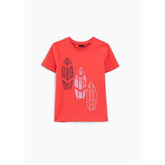 IKKS BOYS' CORAL T-SHIRT WITH 3 SURFBOARDS
