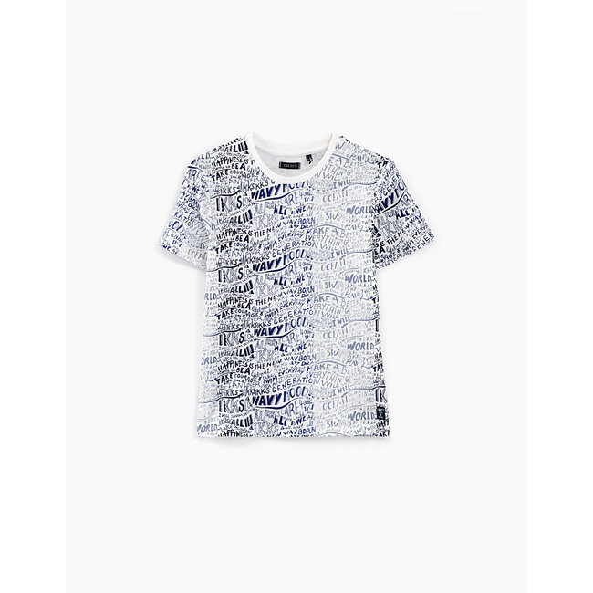 IKKS BOYS' OFF-WHITE ALL-OVER LETTERS T-SHIRT