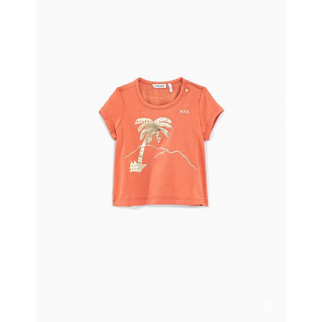 IKKS Baby girls' blush mixed-fabric T-shirt with gold palm tree