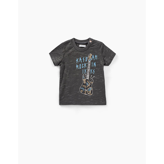 IKKS Baby boys' black textured guitar organic cotton T-shirt