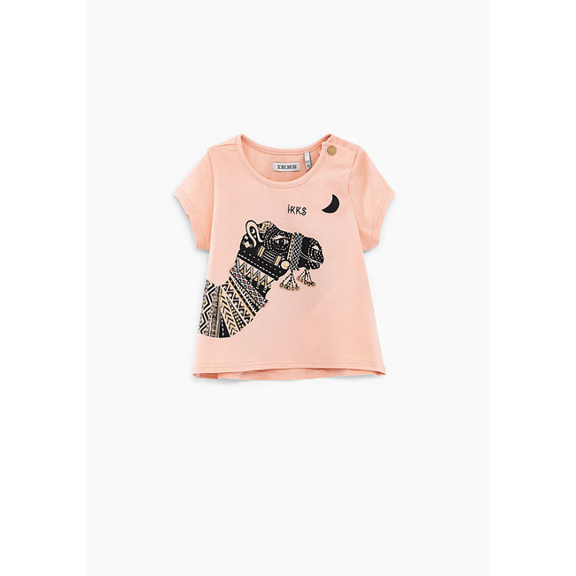 IKKS Baby girls' pink organic cotton T-shirt with camel graphic