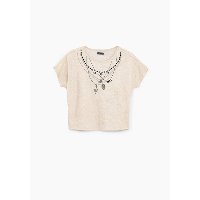 IKKS GIRLS' ECRU NECKLACE EMBROIDERY T-SHIRT