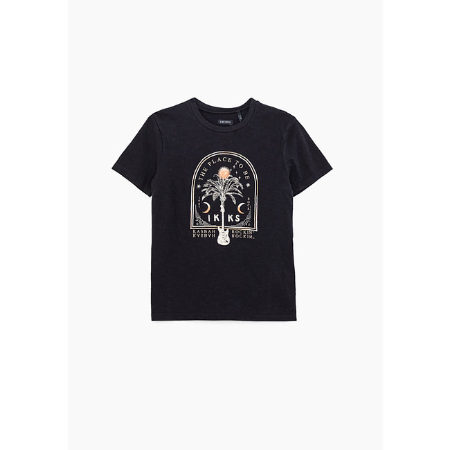 IKKS BOYS' BLACK T-SHIRT WITH PALM TREE EMBROIDERED FRAME