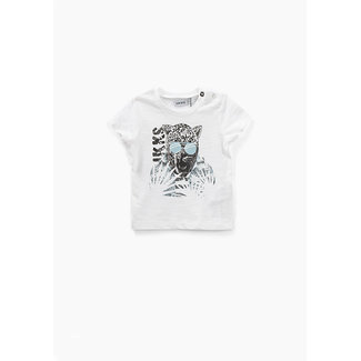 IKKS Baby boys' off-white leopard graphic organic T-shirt