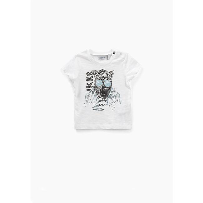 IKKS Baby boys' off-white leopard graphic organic T-shirt