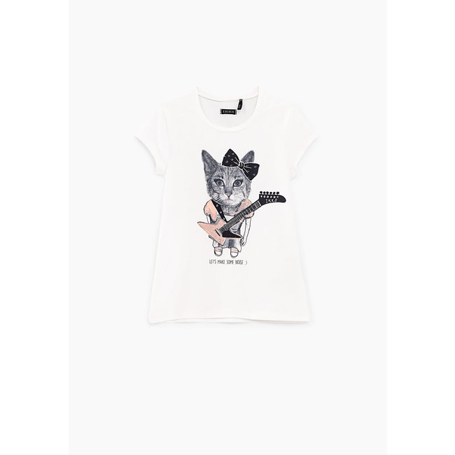 IKKS GIRLS' OFF-WHITE CAT-ROCKER GRAPHIC T-SHIRT