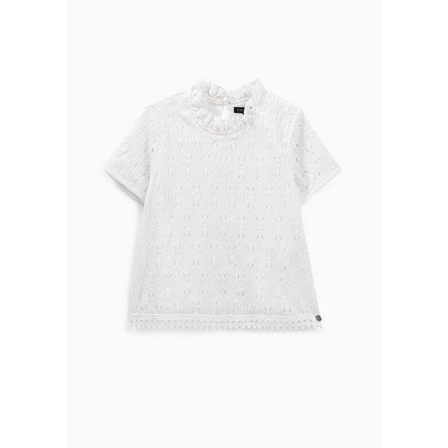 IKKS GIRLS' OFF-WHITE T-SHIRT WITH RUFFLED LACE COLLAR