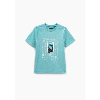 IKKS BOYS' TURQUOISE TRAINERS GRAPHIC ORGANIC COTTON T-SHIRT
