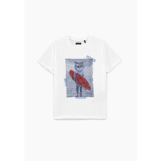 IKKS BOYS' OFF-WHITE CAT-SURFER GRAPHIC T-SHIRT