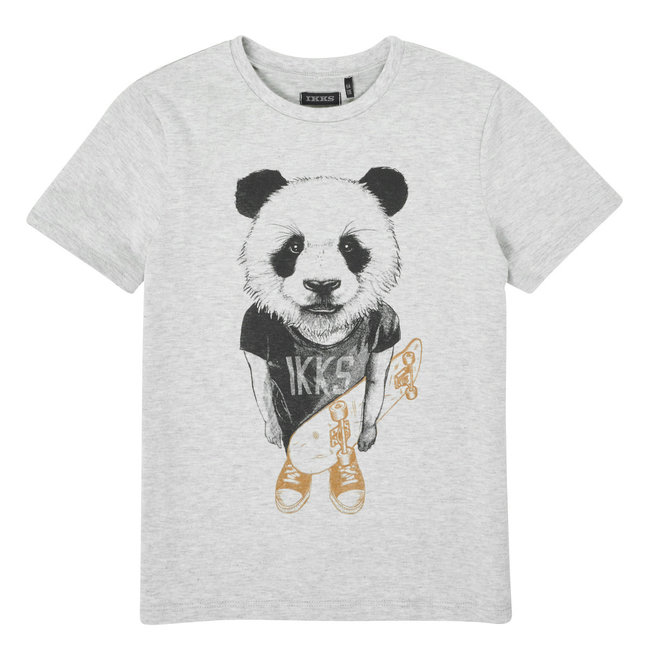 IKKS BOYS' GREY T-SHIRT PANDA