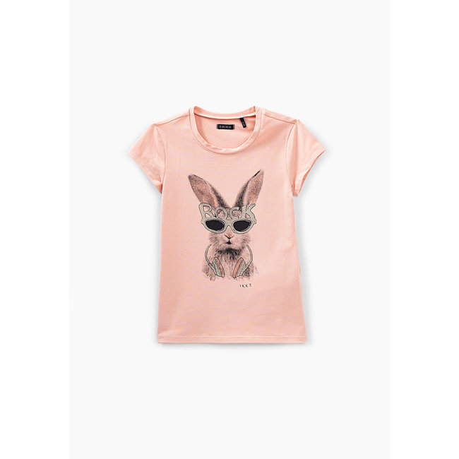 IKKS GIRLS' POWDER PINK RABBIT GRAPHIC T-SHIRT