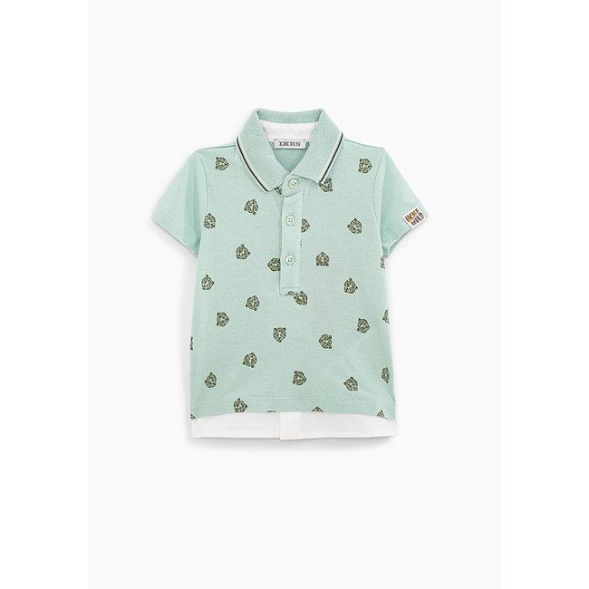 IKKS Baby boys' celadon leopard print organic cotton polo shirt