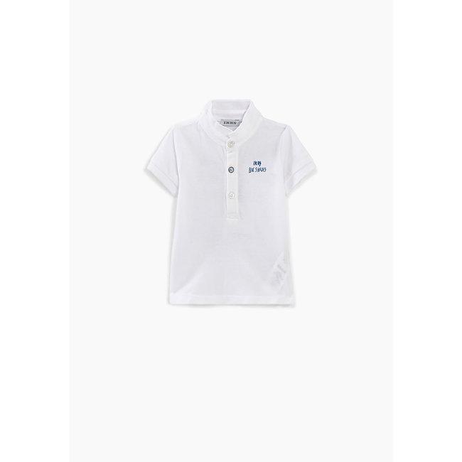 IKKS Baby boys' optical white organic polo shirt+print on back