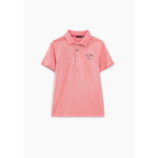 IKKS BOYS' PINK POLO SHIRT WITH PRINT AND TEXTURED BACK