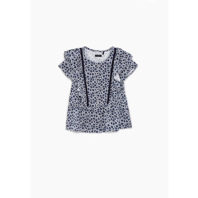 IKKS GIRLS' NAVY AQUATIC FLOWER PRINT BLOUSE