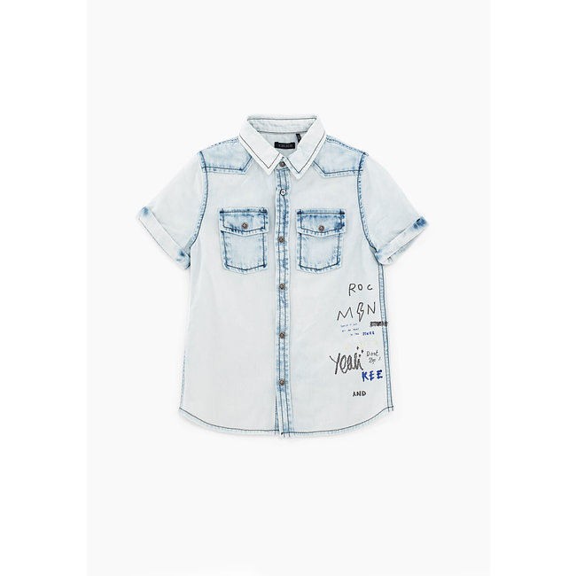 IKKS BOYS' BLEACH BLUE PRINTED DENIM SHIRT