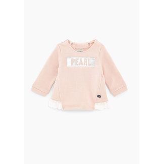IKKS Baby girls' light pink slogan sweatshirt with ruffles