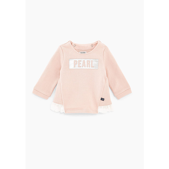 IKKS Baby girls' light pink slogan sweatshirt with ruffles