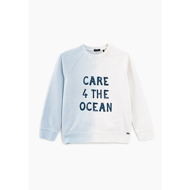 IKKS BOYS' OFF-WHITE DEEP DYE SLOGAN SWEATSHIRT