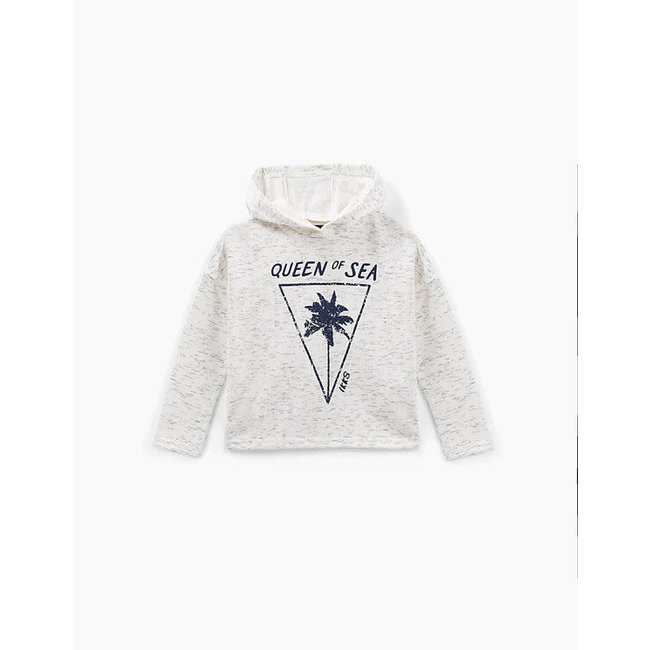 IKKS GIRLS' OFF-WHITE HOODIE WITH NAVY PRINT